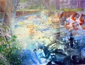 David Wiseman, River Bends, 2011. Acrylic, 100mm x 76mm. © Image: David Wiseman/Worksinprint.