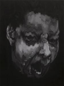 Johnny Höglund, Yawn I (v. 2), 2013.  Acrylic, masking tape, varnish on canvas, 2000mm