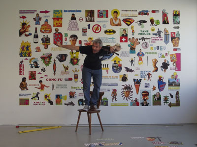 Jay Rechsteiner in front of his work 'Getting Stronger Everyday.'