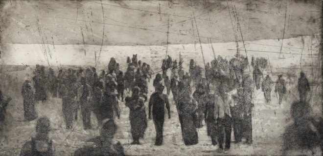 walking people 2 (Where are we coming from Where are we going to), Aquatint, 30x60cm, 2015